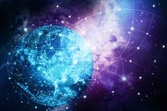 Hintergrund des globalen Netzwerks stockfotografie
