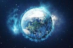 Hintergrund des globalen Netzwerks der Wiedergabe-3D Verbindungs-Linien mit Dots Around Earth Globe Globaler internationaler Zusa Stockfotos