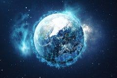 Hintergrund des globalen Netzwerks der Wiedergabe-3D Verbindungs-Linien mit Dots Around Earth Globe Globaler internationaler Zusa Lizenzfreies Stockfoto