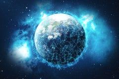 Hintergrund des globalen Netzwerks der Wiedergabe-3D Verbindungs-Linien mit Dots Around Earth Globe Globaler internationaler Zusa Lizenzfreie Stockbilder