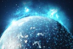 Hintergrund des globalen Netzwerks der Wiedergabe-3D Verbindungs-Linien mit Dots Around Earth Globe Globaler internationaler Zusa Stockfotografie