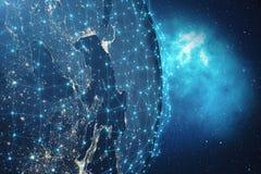 Hintergrund des globalen Netzwerks der Wiedergabe-3D Verbindungs-Linien mit Dots Around Earth Globe Globaler internationaler Zusa Lizenzfreie Stockfotografie