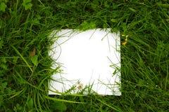 Hintergrund des grünen Grases mit Weißbuch Lizenzfreies Stockbild