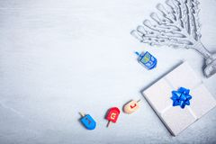 Hintergrund des jüdischen Feiertags Hanukkah Die religiösen Symbole lizenzfreie stockbilder