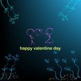 Hintergrund des Jungen und des Mädchens und Herzen in den Valentinstagvektorillustrationen stock abbildung