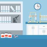 Hintergrund des Laborinnenraums Stockbild