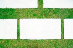 Hintergrund des leeren konkreten Schreibtisches und des grünen Grases Leerstelle für Text und Bilder Stockfoto