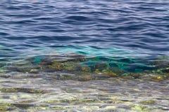 Hintergrund des Meeresgrunds im tropischen grünen Wasser Lizenzfreies Stockfoto