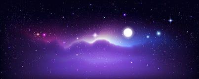 Hintergrund des nächtlichen Himmels Stern-Feld und Mond stockbilder