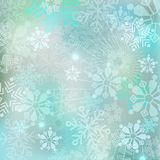 Hintergrund des neuen Jahres Heller Winterhintergrund mit Schneeflocken Stockfotografie