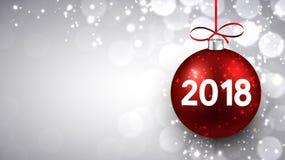 Hintergrund des neuen Jahres 2018 mit Ball Lizenzfreies Stockfoto