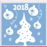 Hintergrund des neuen Jahres mit Baum spielt von den Schneeflocken Kann als Fahne oder Plakat verwendet werden Auch im corel abge Stockbild