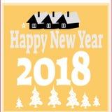 Hintergrund des neuen Jahres mit Baum spielt von den Schneeflocken Kann als Fahne oder Plakat verwendet werden Auch im corel abge Stockfotografie