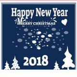 Hintergrund des neuen Jahres mit Baum spielt von den Schneeflocken Kann als Fahne oder Plakat verwendet werden Auch im corel abge Lizenzfreie Stockbilder
