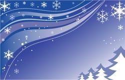 Hintergrund des neuen Jahres mit Baum und Schneeflocken Lizenzfreies Stockbild