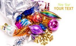 Hintergrund des neuen Jahres mit bunten Dekorationen Stockbilder