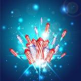Hintergrund des neuen Jahres mit Feuerwerken Stockfotografie