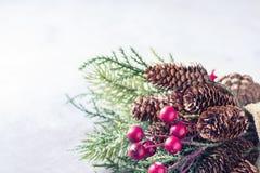 Hintergrund des neuen Jahres und des Weihnachten Weihnachtsrahmen mit Dekoration, Zweig der Kiefer, Kegel und Beeren Platz für Te Stockfotografie