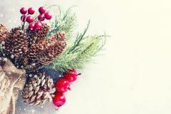Hintergrund des neuen Jahres und des Weihnachten Weihnachtsrahmen mit Dekoration, Zweig der Kiefer, Kegel und Beeren Platz für Te Lizenzfreie Stockfotos
