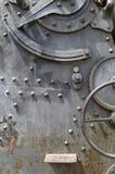 Hintergrund des Plattenmetalls, -gänge und -niete Stockbilder