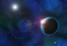 Hintergrund des Raumes 3D mit fiktiven Planeten Stockfotografie