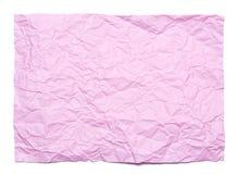 Hintergrund des Rosa zerknitterten Blattes Papier Lizenzfreie Stockfotos