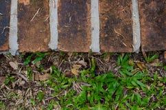 Hintergrund des roten Backsteins und des grünen Grases Stockbild