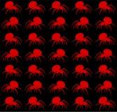 Hintergrund des Rotes der gehenden Spinnen auf schwarzem Hintergrund stock abbildung