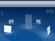 Hintergrund des Servers und vier Überwachungsgeräte stock abbildung