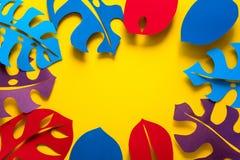 Hintergrund des Sommers tropische Betriebs Monstera lässt Rahmen Vibrierende Farben Papierschnittart lizenzfreies stockbild