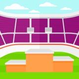 Hintergrund des Stadions mit Podium für Sieger Lizenzfreies Stockbild