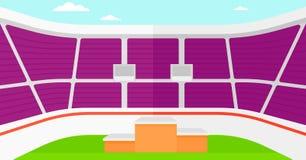 Hintergrund des Stadions mit Podium für Sieger Lizenzfreie Stockbilder