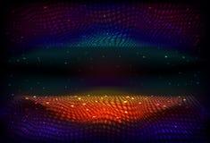 Hintergrund des unbegrenzten Raumes des Vektors Matrix des Glühens spielt mit Illusion der Tiefe und der Perspektive die Hauptrol stockbilder