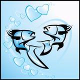 Hintergrund des Valentinsgrußes mit Fischen Lizenzfreie Stockfotos