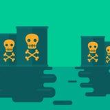 Hintergrund des verschmutzten Wassers mit radioaktivem Fass Stockfoto