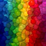 Hintergrund des vertikal gestreiften Musters der volle Farbspektrum-Regenbogenbälle Stockfoto