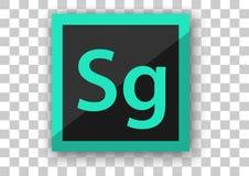 Hintergrund des weißen Quadrats des Adobe-Geschwindigkeitsgradikonendesigns Stockfotos