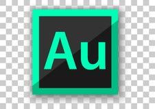 Hintergrund des weißen Quadrats des Adobe-Hörprobenikonendesigns Lizenzfreies Stockbild