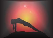 Hintergrund des Yoga-Rückplanken-Haltungs-grellen Glanzes Lizenzfreie Stockfotos