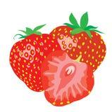 Hintergrund. Drei reife saftige Erdbeeren. Stockfoto