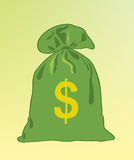 Hintergrund. Ein grüner Beutel mit Geld Lizenzfreie Stockbilder