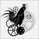 Hintergrund, ein Hahn und Details von Stunden lizenzfreie abbildung