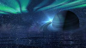 Hintergrund eines futuristischen nächtlichen Himmels mit Saturn stock video