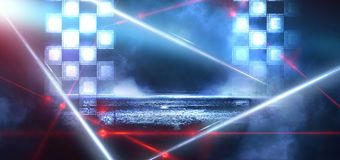 Hintergrund eines leeren dunkel-schwarzen Raumes Leere Backsteinmauern, Lichter, Rauch, Glühen, Strahlen vektor abbildung