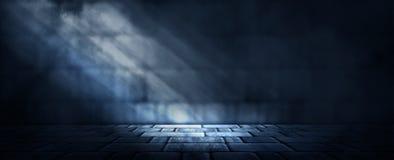 Hintergrund eines leeren dunkel-schwarzen Raumes Leere Backsteinmauern, Lichter, Rauch, Glühen, Strahlen stock abbildung