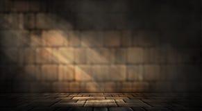 Hintergrund eines leeren dunkel-schwarzen Raumes Leere Backsteinmauern, Lichter, Rauch, Glühen, Strahlen lizenzfreie stockbilder