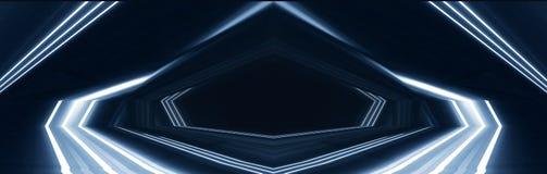 Hintergrund eines leeren Raumes nachts mit Rauche und Neonlicht Dunkler abstrakter Hintergrund Hintergrund einer leeren Showszene vektor abbildung