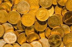 Hintergrund der goldenen Münzen Lizenzfreies Stockfoto