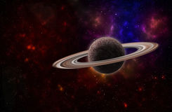 Hintergrund eines Weltraumsternfeldes und -planeten mit Ringen Stockbild