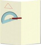 Hintergrund für den Text mit einem Bleistift und einem Winkelmesser Stockfotos